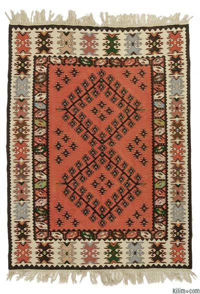 Orange, Red Vintage Sharkoy Kilim - 5' x 6'7'' (60 in. x 79 in.)