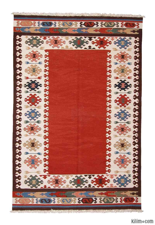 K0003861 Red New Turkish Kilim Area Rug