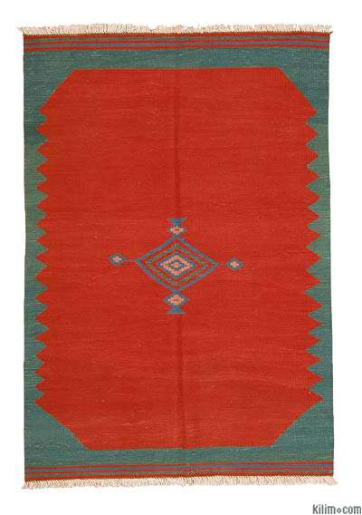 Red New Turkish Kilim Area Rug