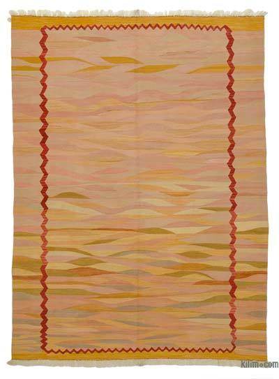 Yellow, Orange New Turkish Kilim Area Rug