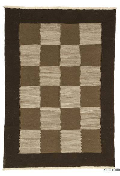 Brown New Turkish Kilim Rug - 5'4'' x 7'7'' (64 in. x 91 in.)