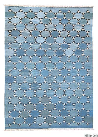 Light Blue New Turkish Kilim Area Rug