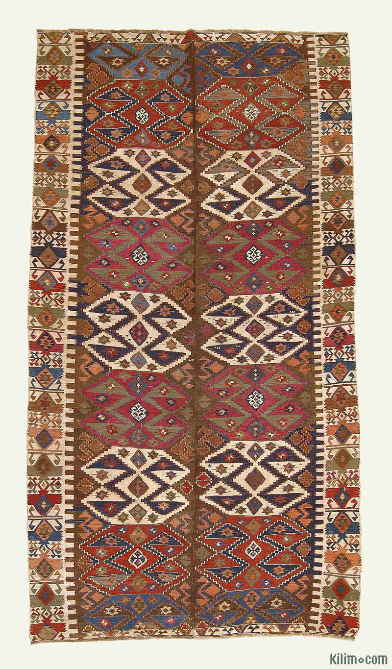 K0004144 Multicolor Antique Malatya Kilim Rug