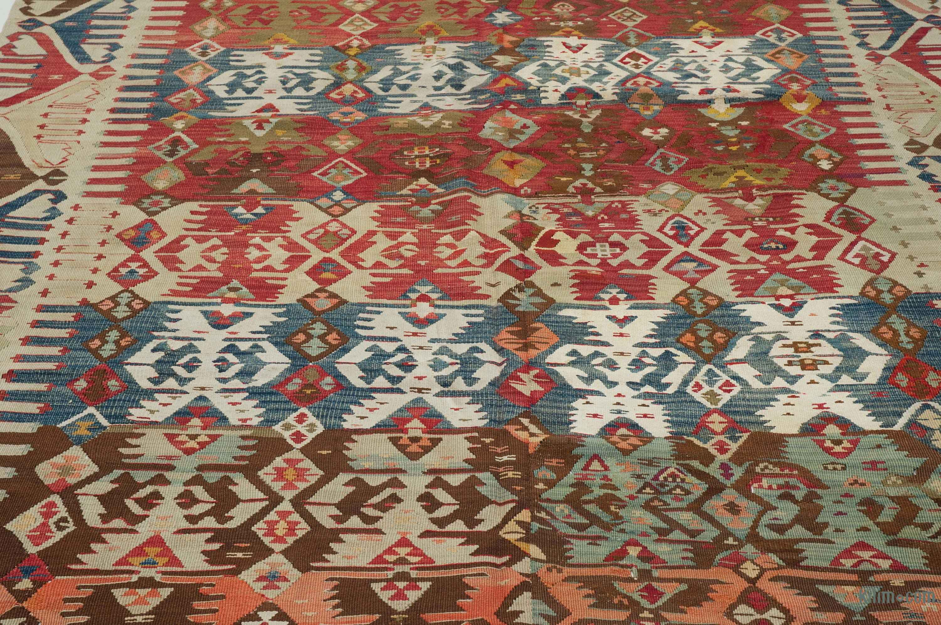 K0004150 Red Beige Antique Malatya Kilim Rug