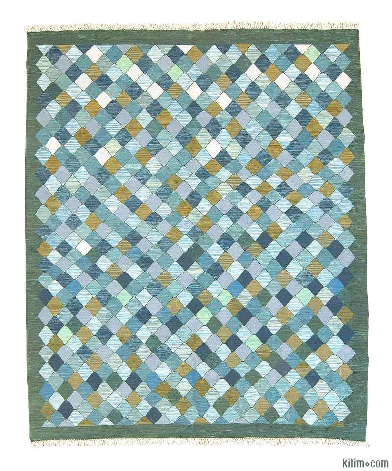 K0004620 Light Blue, Green New Turkish Kilim Area Rug