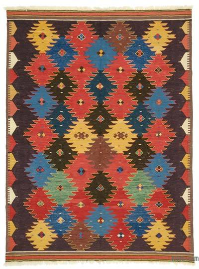 Multicolor New Turkish Kilim Rug - 6'9'' x 8'11'' (81 in. x 107 in.)