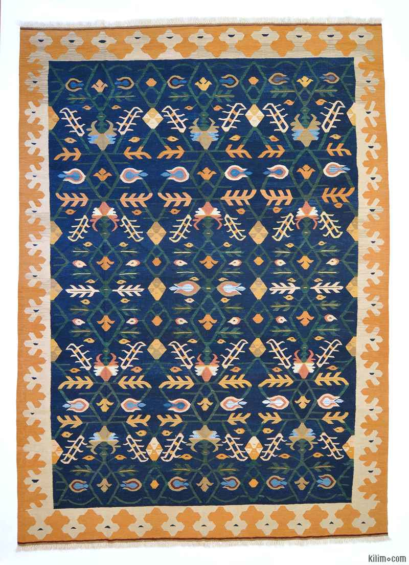 K0004671 Blue New Turkish Kilim Area Rug