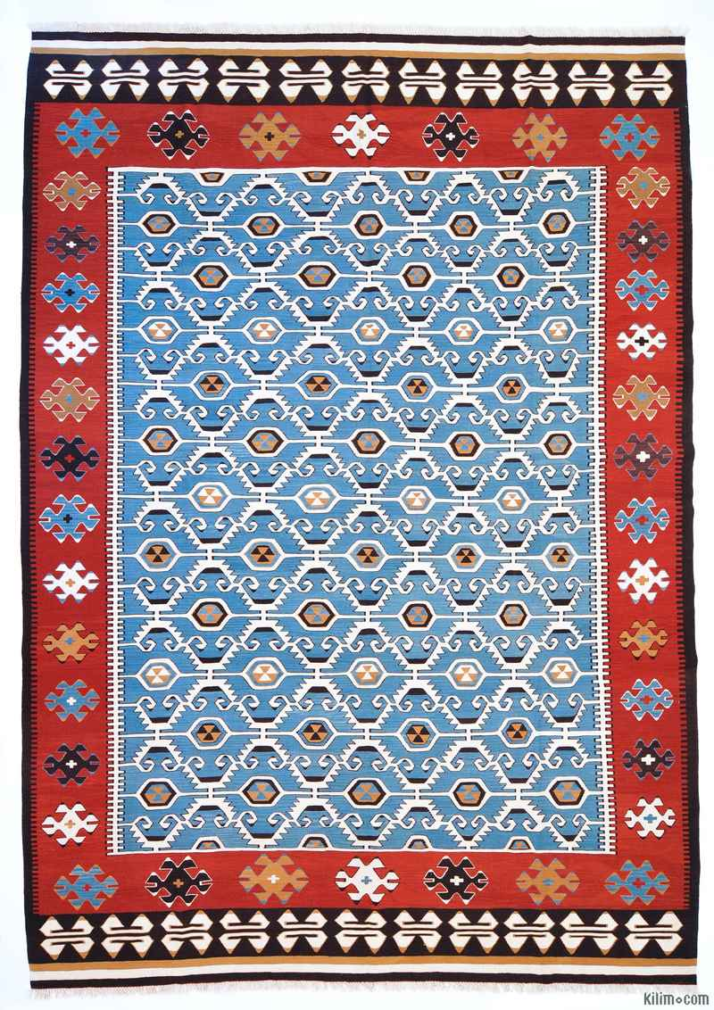 K0004672 Light Blue New Turkish Kilim Area Rug