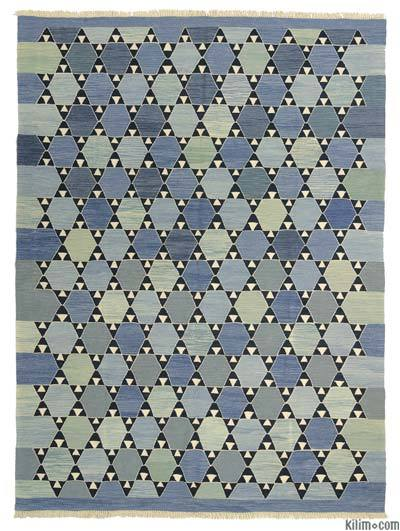 Blue, Light Blue New Turkish Kilim Rug - 6'9'' x 9'1'' (81 in. x 109 in.)