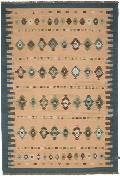 Orange New Turkish Kilim Rug - 6'9'' x 9'10'' (81 in. x 118 in.)