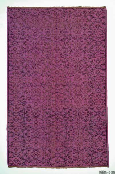 Fuchsia Over-dyed Turkish Vintage Rug - 5'8'' x 9'1'' (68 in. x 109 in.)