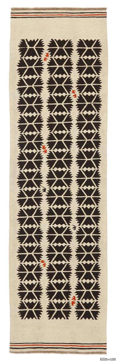 Beige, Black New Turkish Kilim Runner