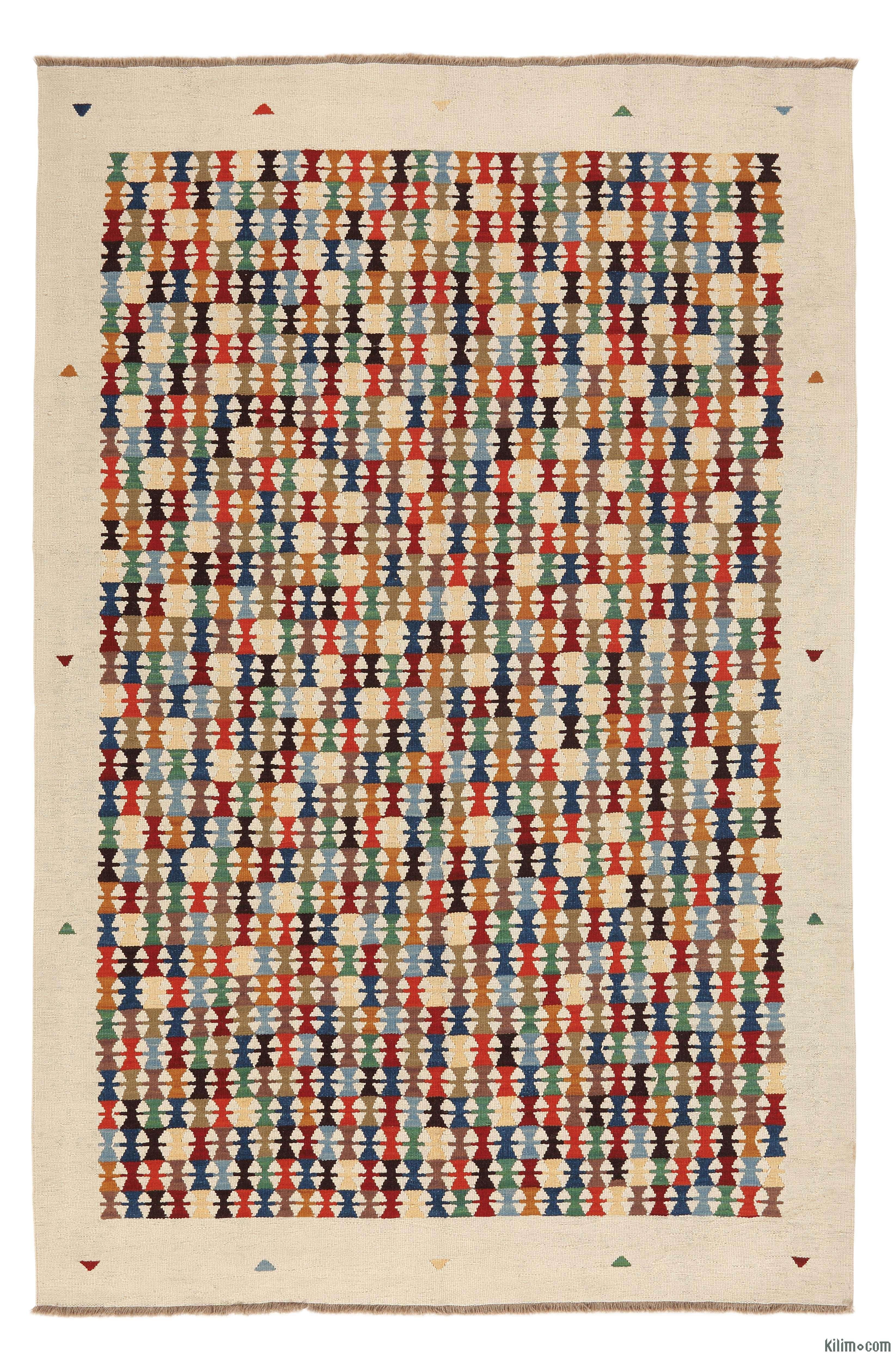 K0004706 Beige Multicolor New Turkish Kilim Rug KASKIA Kilim