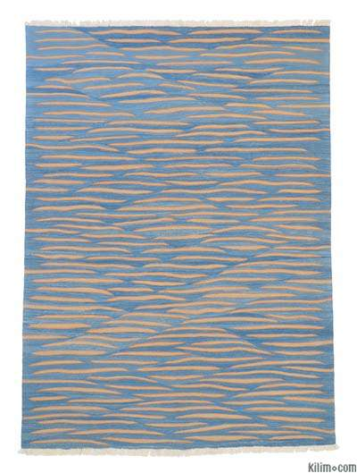 Light Blue New Turkish Kilim Rug - 6' x 8'2'' (72 in. x 98 in.)
