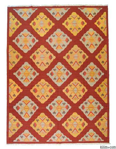 Red, Yellow New Turkish Kilim Area Rug