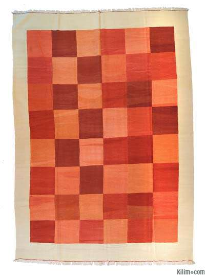 Red, Orange New Turkish Kilim Area Rug