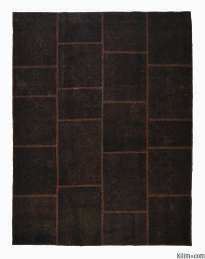 Brown Over-dyed Turkish Patchwork Rug - 5'11'' x 7'9'' (71 in. x 93 in.)