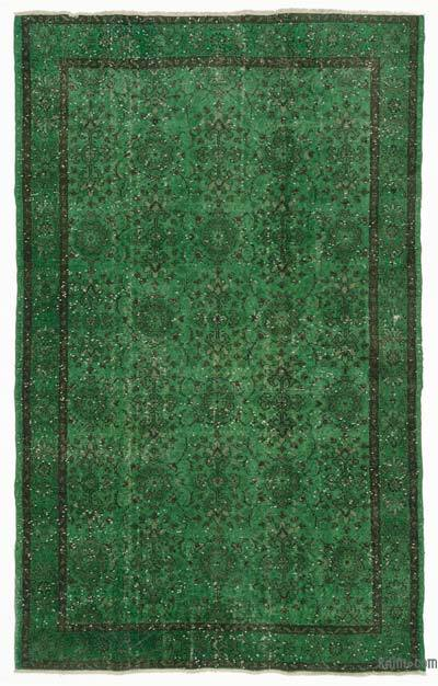 Green Over-dyed Turkish Vintage Rug - 5'9'' x 9'4'' (69 in. x 112 in.)