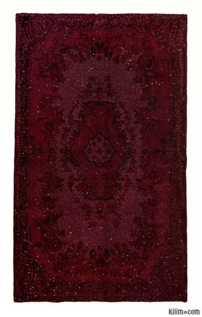Red Over-dyed Turkish Vintage Rug - 3'11'' x 6'8'' (47 in. x 80 in.)