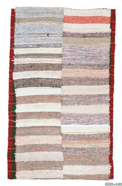 Multicolor Turkish Vintage Chaput Rug - 4'9'' x 7'6'' (57 in. x 90 in.)