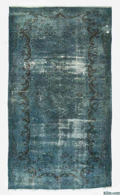 Blue Over-dyed Turkish Vintage Rug - 5'8'' x 10'1'' (68 in. x 121 in.)