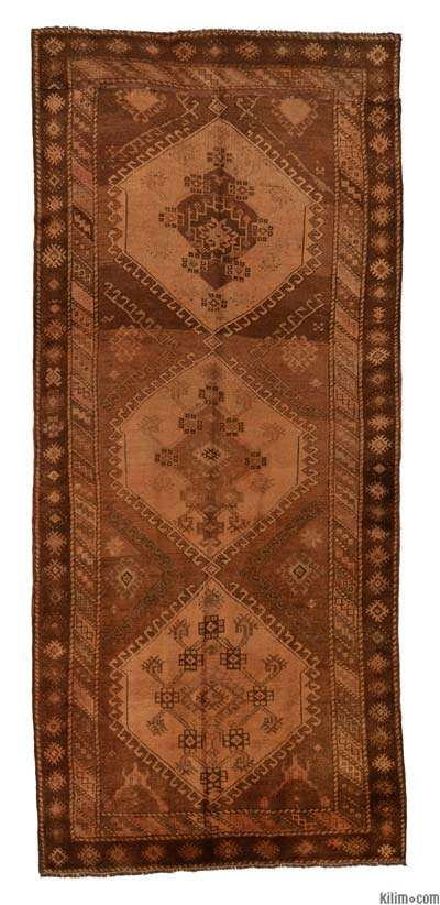 Brown Over-dyed Turkish Vintage Rug - 4'6'' x 10'3'' (54 in. x 123 in.)