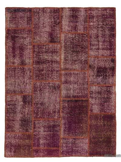Purple Over-dyed Turkish Patchwork Rug - 3'11'' x 5'3'' (47 in. x 63 in.)