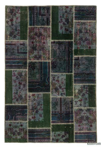 Multicolor Over-dyed Turkish Patchwork Rug - 5'3'' x 7'9'' (63 in. x 93 in.)