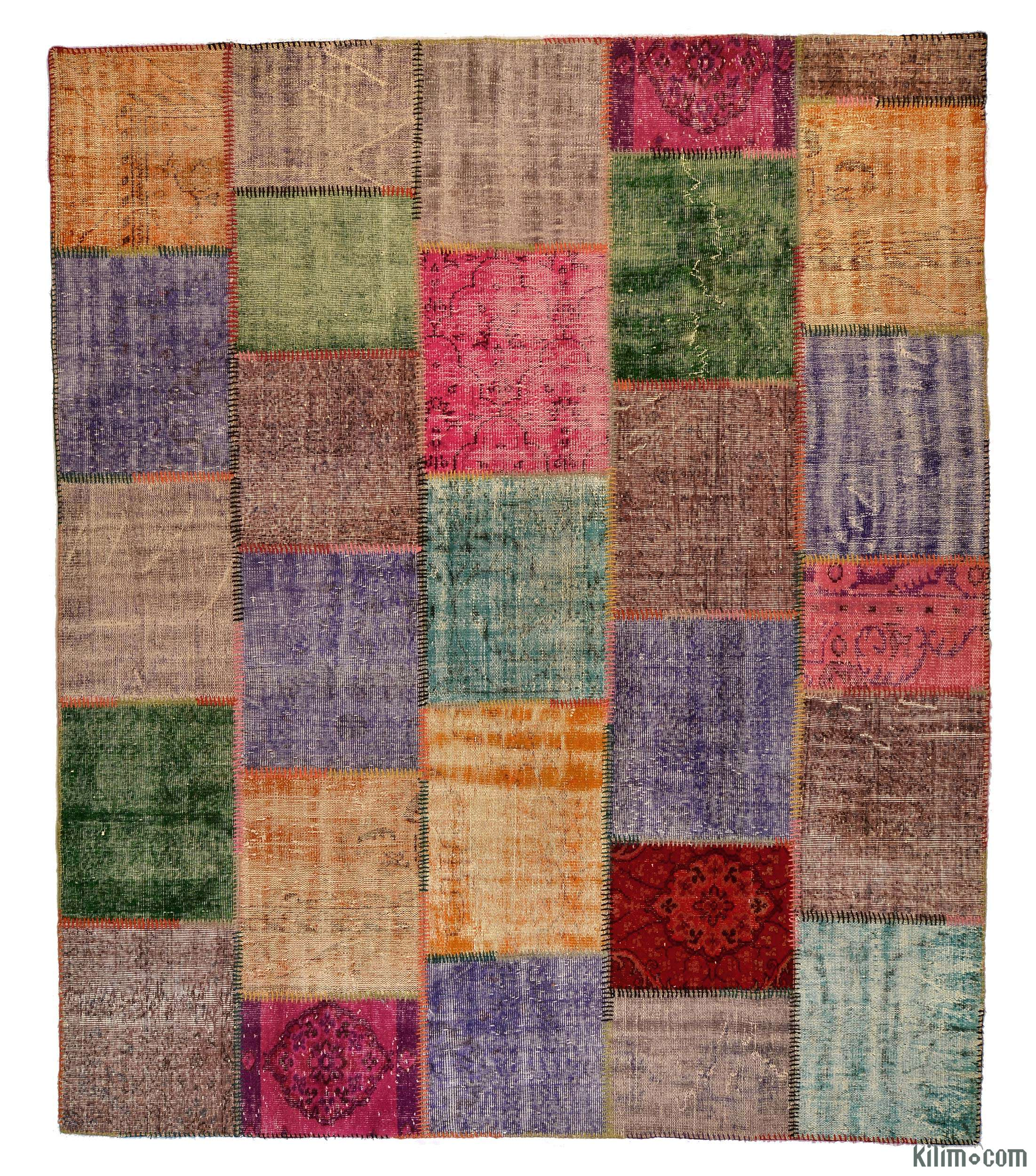 K g Over dyed Turkish Patchwork Rug