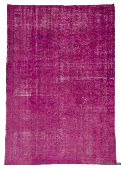 Fuchsia Over-dyed Turkish Vintage Rug - 6'5'' x 9'3'' (77 in. x 111 in.)