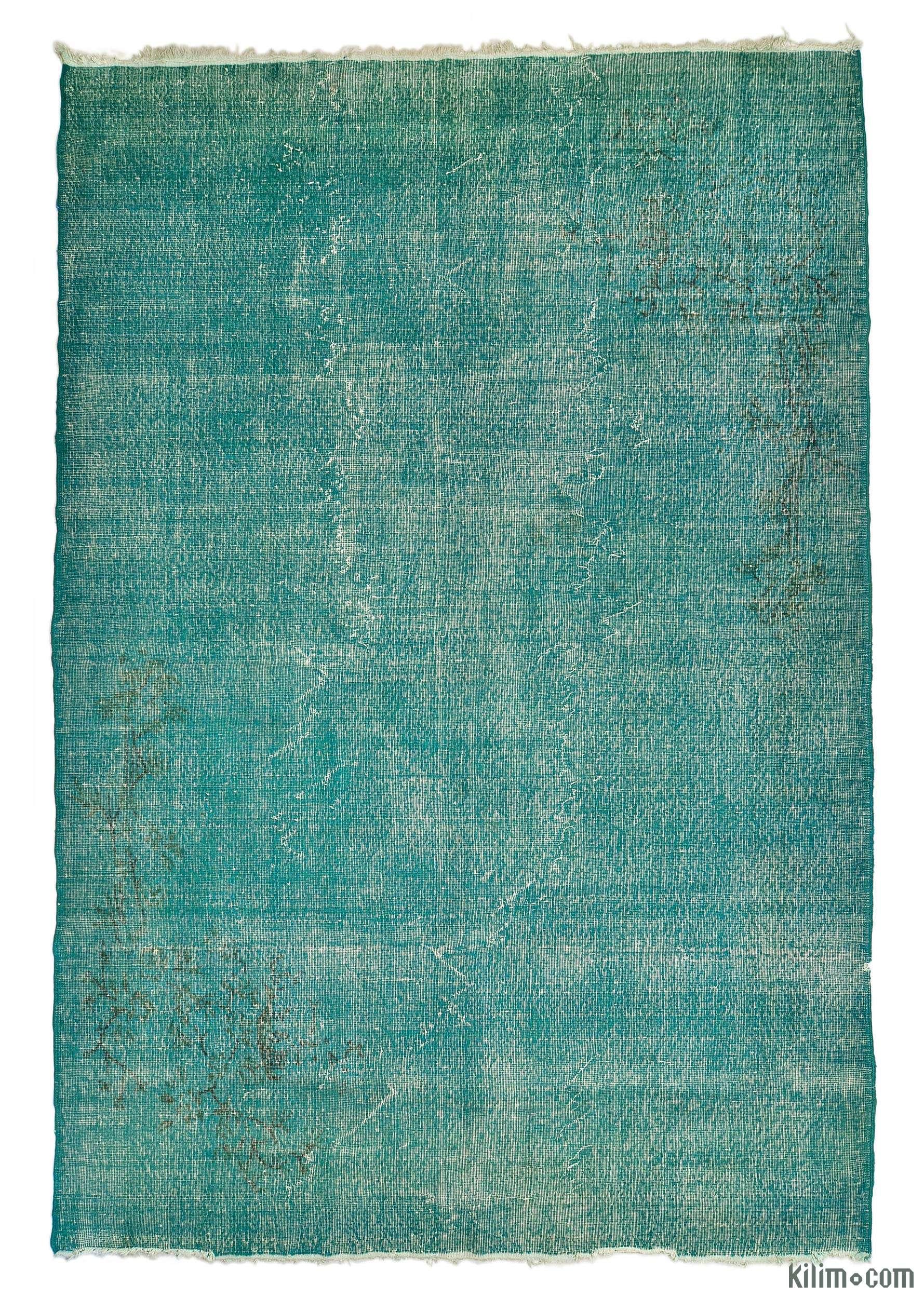 Turquoise Overdyed Turkish Vintage Rug