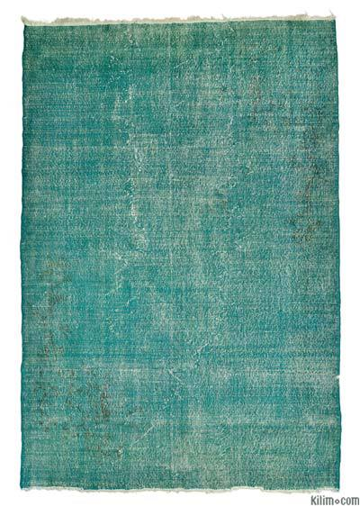 Turquoise Overdyed Turkish Vintage Rug - 7'3'' x 10'7'' (87 in. x 127 in.)