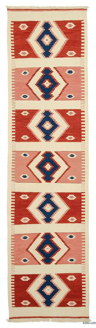 Red, Beige New Turkish Kilim Runner