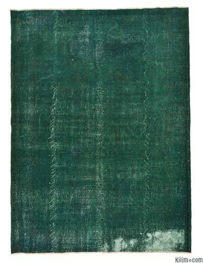 Green Over-dyed Turkish Vintage Rug - 7'1'' x 9'8'' (85 in. x 116 in.)
