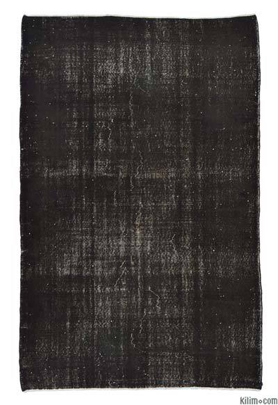 Black Over-dyed Turkish Vintage Rug - 5'7'' x 8'7'' (67 in. x 103 in.)
