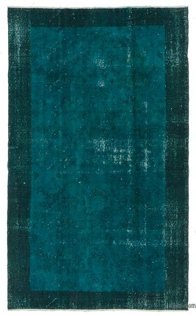 Turquoise Over-dyed Turkish Vintage Rug - 5' x 8'4'' (60 in. x 100 in.)