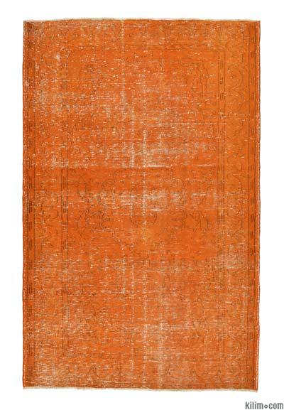 Orange Over-dyed Turkish Vintage Rug - 5'8'' x 8'10'' (68 in. x 106 in.)