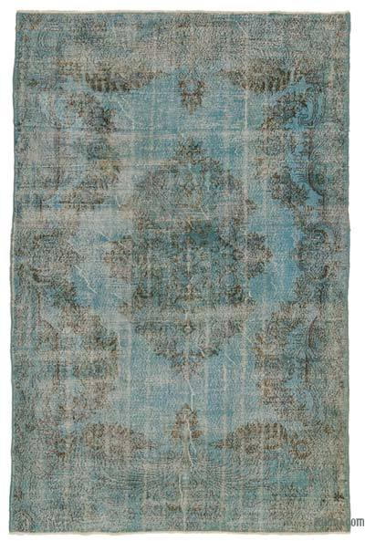Turquoise Over-dyed Turkish Vintage Rug - 6'7'' x 9'11'' (79 in. x 119 in.)