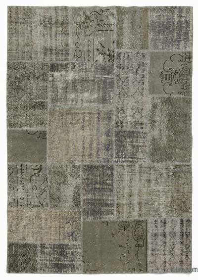 Grey, Green Over-dyed Turkish Patchwork Rug - 5'7'' x 7'10'' (67 in. x 94 in.)
