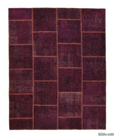 Purple Over-dyed Turkish Patchwork Rug - 5'3'' x 6'7'' (63 in. x 79 in.)