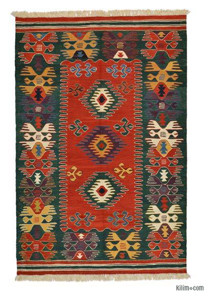 Red, Green New Turkish Kilim - LYCIA