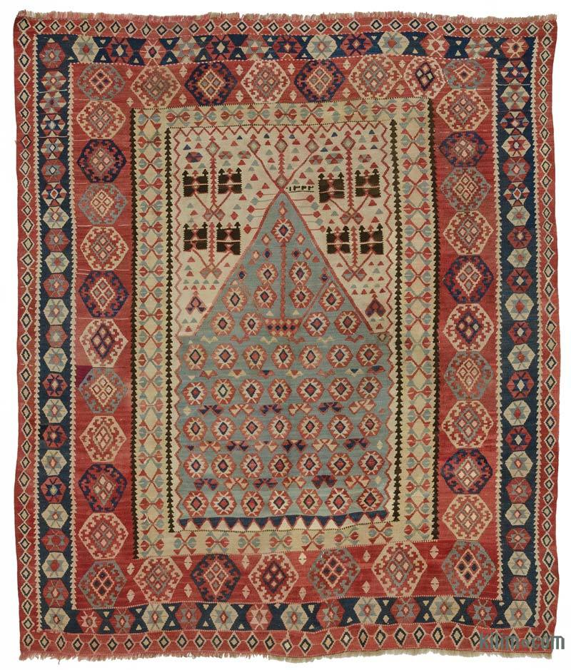 K0005980 Multicolor Antique Erzurum Kilim Rug