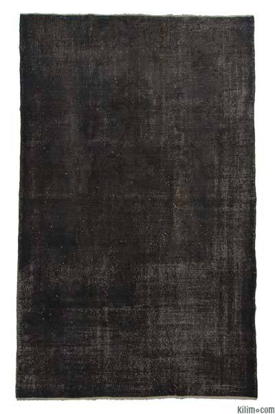 Black Over-dyed Turkish Vintage Rug - 5'6'' x 8'10'' (66 in. x 106 in.)