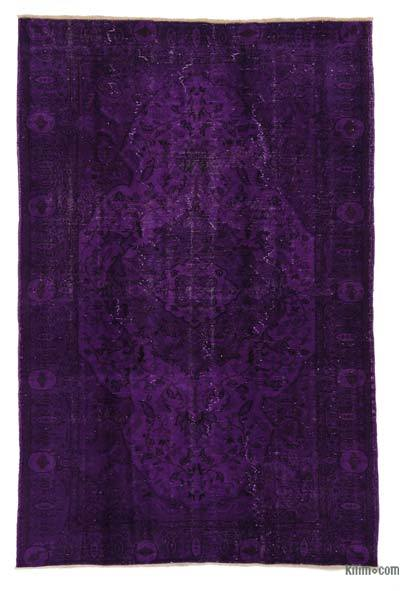 Purple Over-dyed Turkish Vintage Rug - 5'6'' x 8'7'' (66 in. x 103 in.)