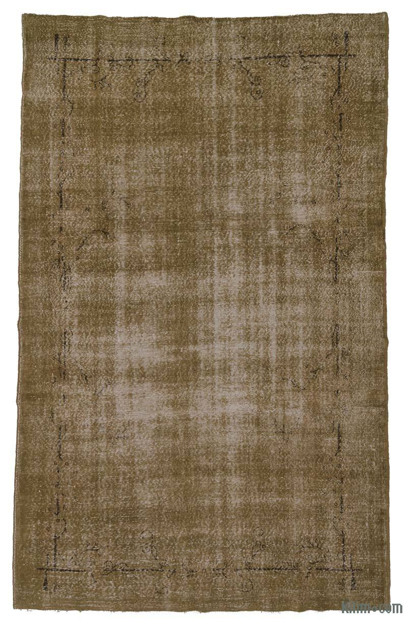 K0006031 Brown Over Dyed Turkish Vintage Rug 6 6 X 10