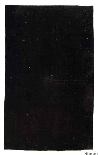Black Over-dyed Turkish Vintage Rug - 5'8'' x 9'3'' (68 in. x 111 in.)