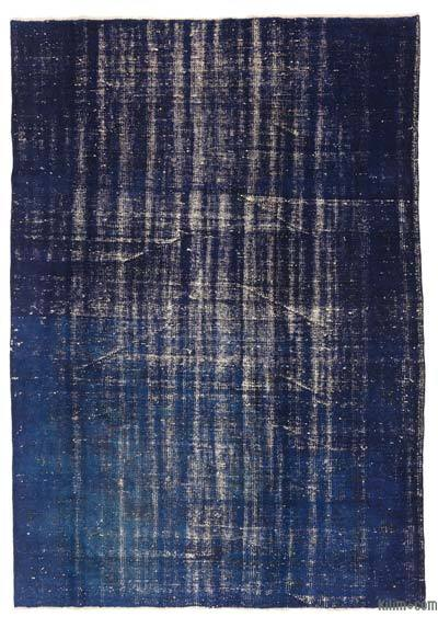 Blue Over-dyed Turkish Vintage Rug - 5'9'' x 8'2'' (69 in. x 98 in.)
