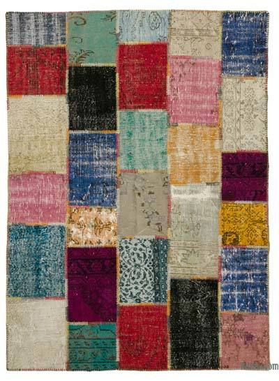 Multicolor Over-dyed Turkish Patchwork Rug - 5'10'' x 8' (70 in. x 96 in.)