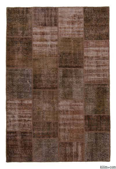 Brown Over-dyed Turkish Patchwork Rug - 5'8'' x 8'7'' (68 in. x 103 in.)