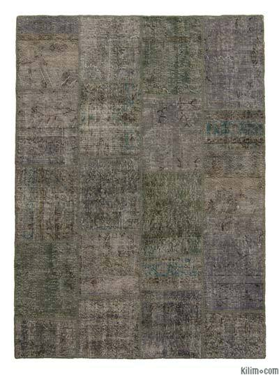 Grey Over-dyed Turkish Patchwork Rug - 5'8'' x 7'9'' (68 in. x 93 in.)